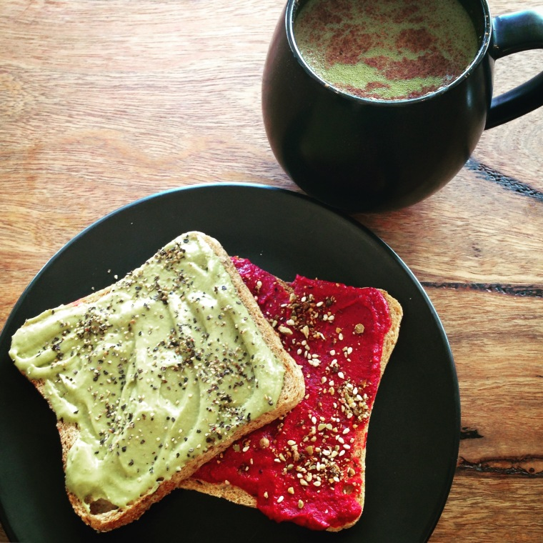 NOOD: Strange Grains toast with avocado and beetroot hummus