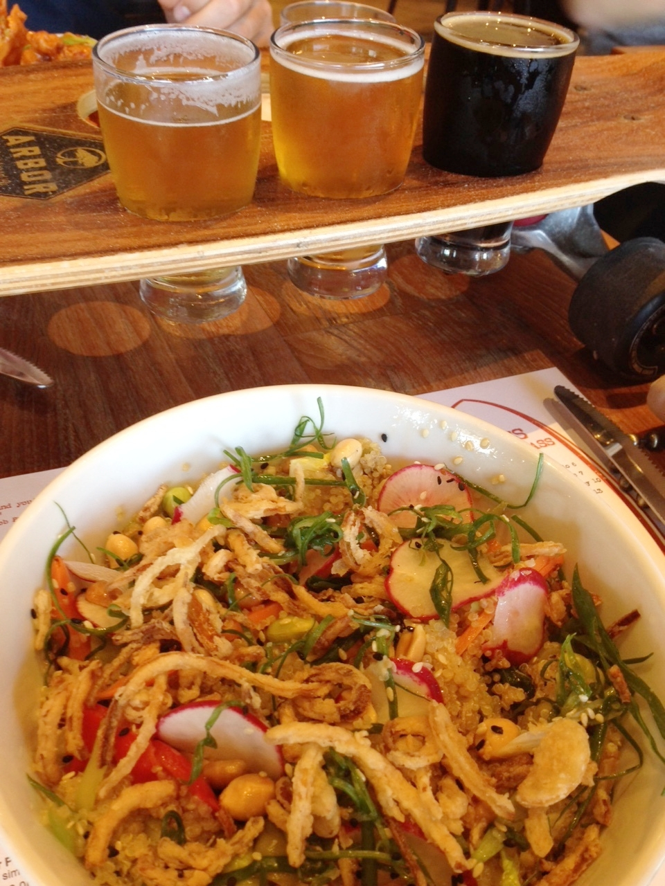 Simmzy's:  Quinoa, edamame and peanut bowl plus BEER