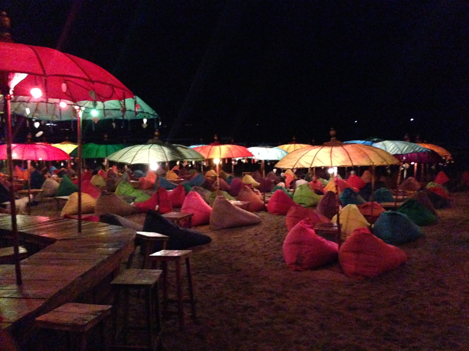 Bean bags on the beach: one of the cheapest, most comfortable nights you can have in Bali