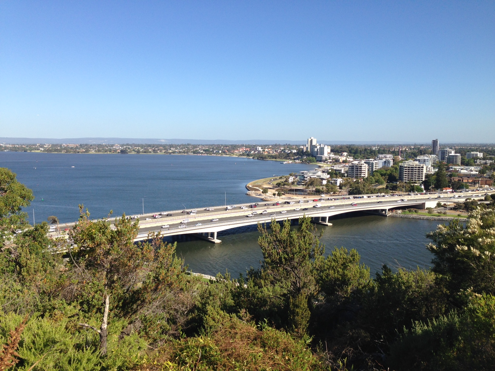 Freeway South: you'll run across the Narrows Bridge (as viewed from Kings Park)
