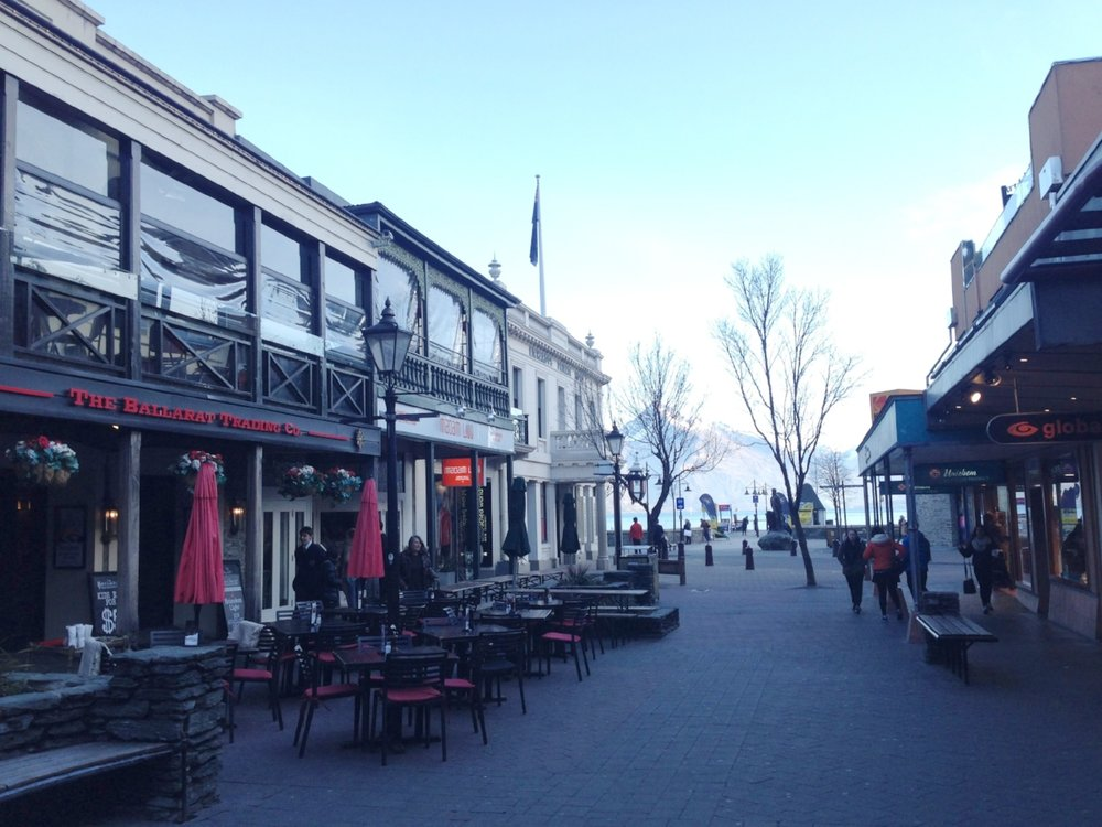 Central Queenstown: a compact shopping area with mountain views