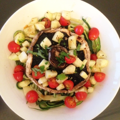 5:2 Meal Ideas: field mushroom, zucchini, cherry tomatoes.
