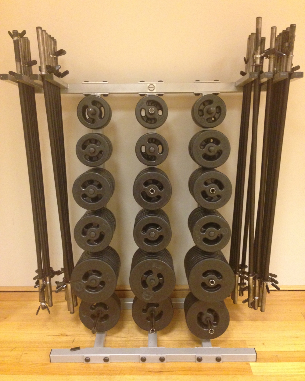 BodyPump: 1.25kg, 2.5kg & 5kg weights.