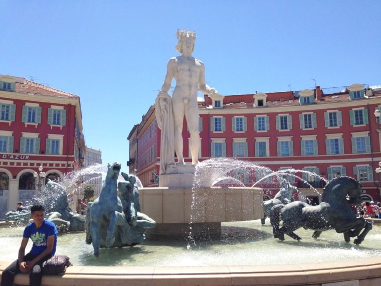 Place Massena: Nice's town square, about 10-15 minutes from the beachfront.