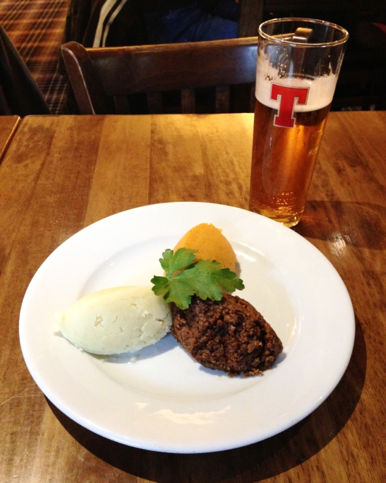 Vegetarian haggis: like a Scottish take on meatloaf.