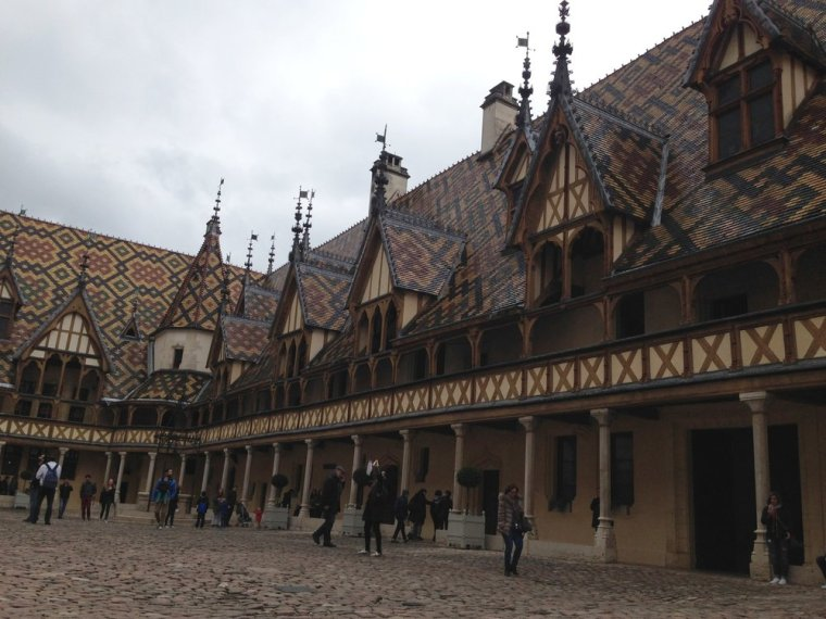 Hospices de Beaune: providing free healthcare for the poor in the town centre from the mid-1400s.
