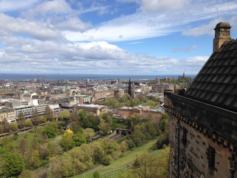 View of New Town from Edinburgh Castle: you can see the railway line and National Gallery along The Mound.