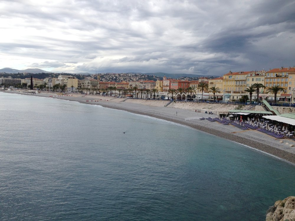 Nice beachfront: viewed from sea level near the #ILoveNice sculpture.