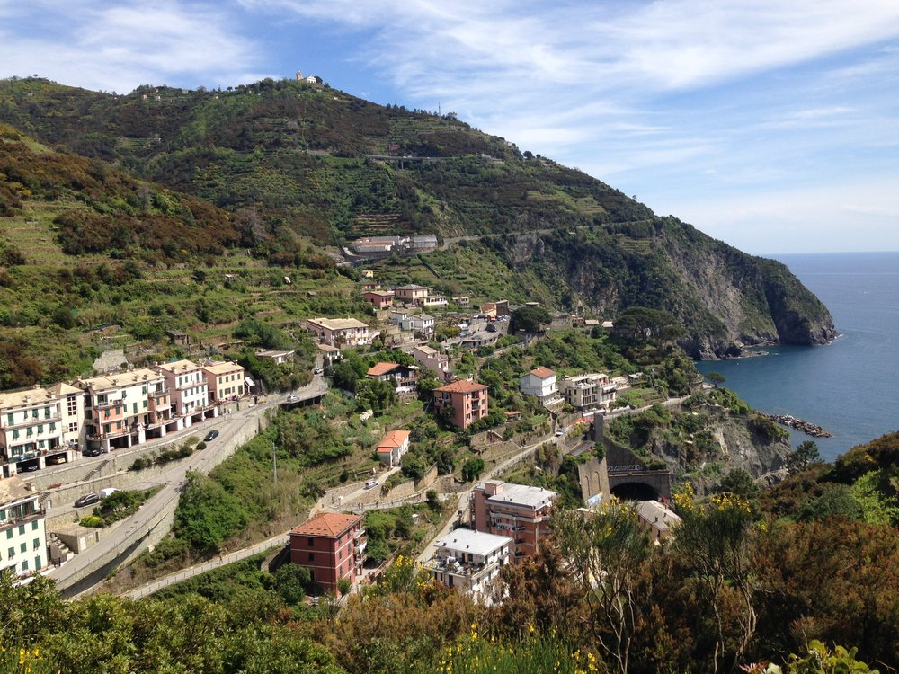 Riomaggiore: looking at the town on our intense, 50 minute hike to Manarola.