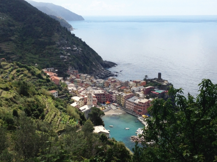 Vernazza: our first glimpse of the villge on the trail from Monterosso.