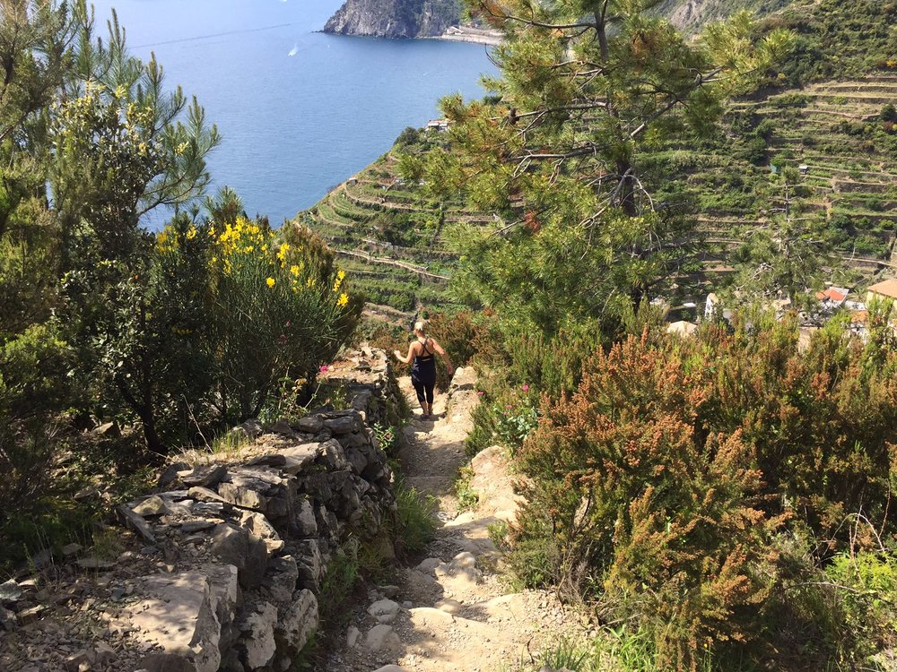 Riomaggiore to Manarola: downhill may look easy, but the ground is uneven with loose rocks and often steep steps.