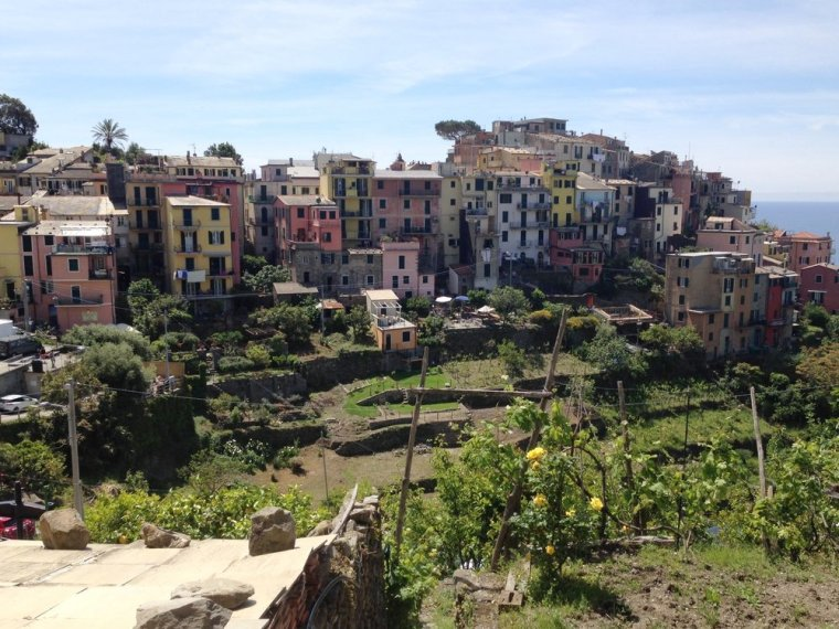 Corniglia: perched on a hilltop but the train station is at sea level, via a lot of stairs!