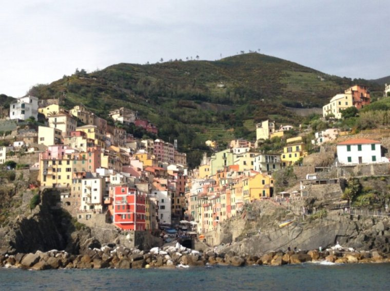 Riomaggiore: the southern-most village, photo taken from the ferry at dusk.