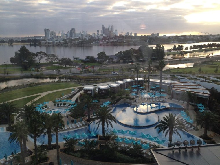 Crown Towers: Perth skyline and the Swan River from our Premier King room.