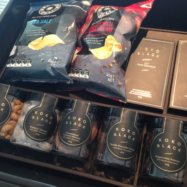 Crown Towers: the mini-bar is perfect for chocaholics.