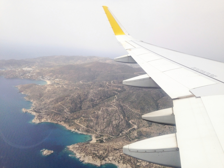 Santorini, Greece: the plane suddenly shot up shortly after I took this photo.