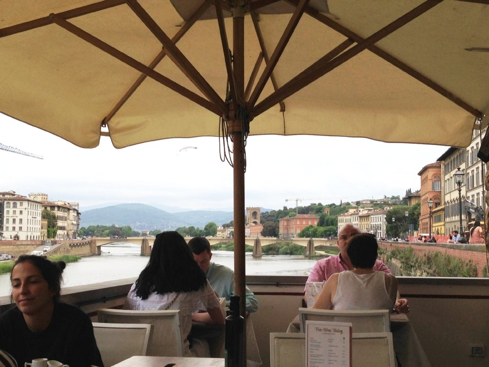 Signorvino: resting our feet at a wine bar overlooking the Arno River.