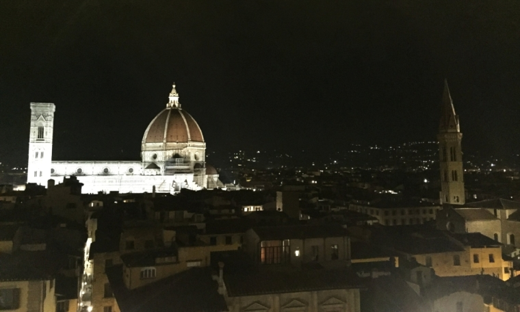 Palazza Vecchio: sweeping views of Florence at night from the Battlement area.