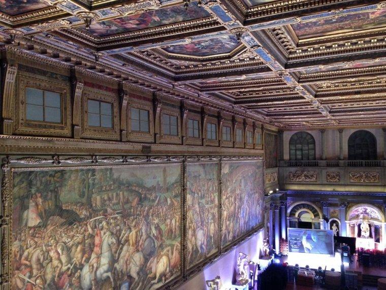 Palazza Vecchio: the main hall's exquisite ceiling.