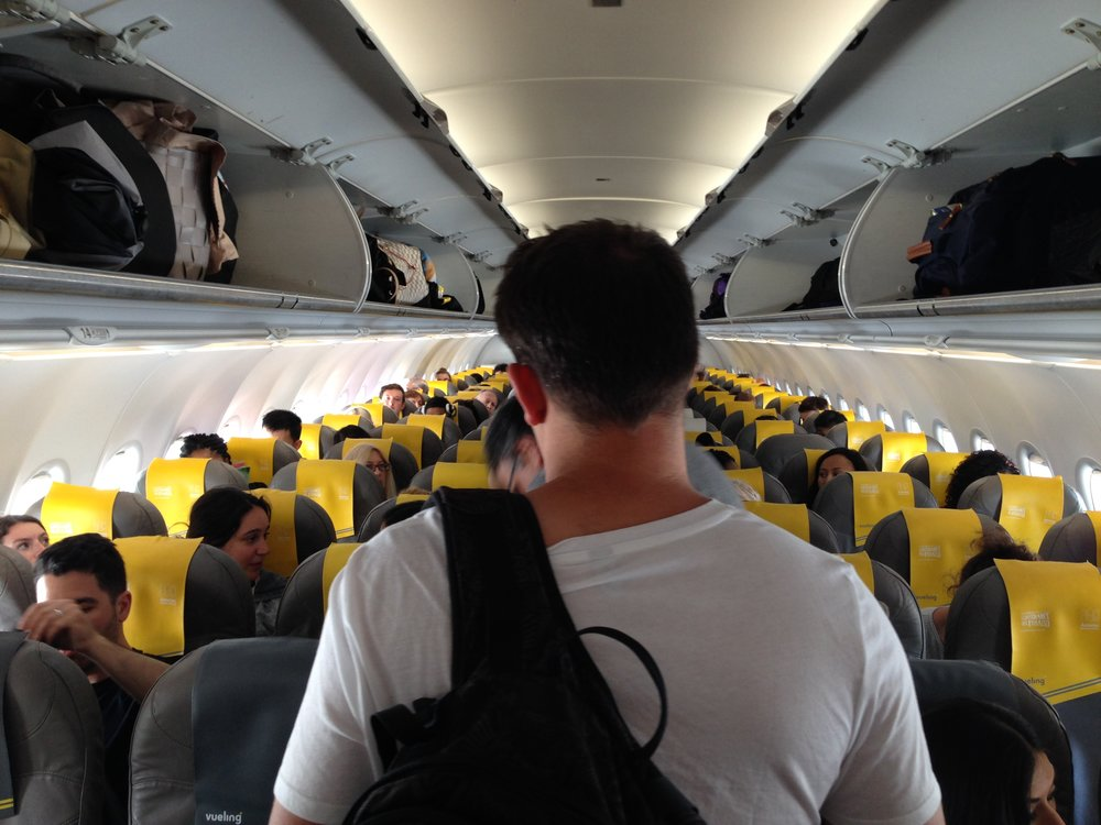 Vueling Airlines: the only carrier we could find with direct flights from Italy to Santorini.