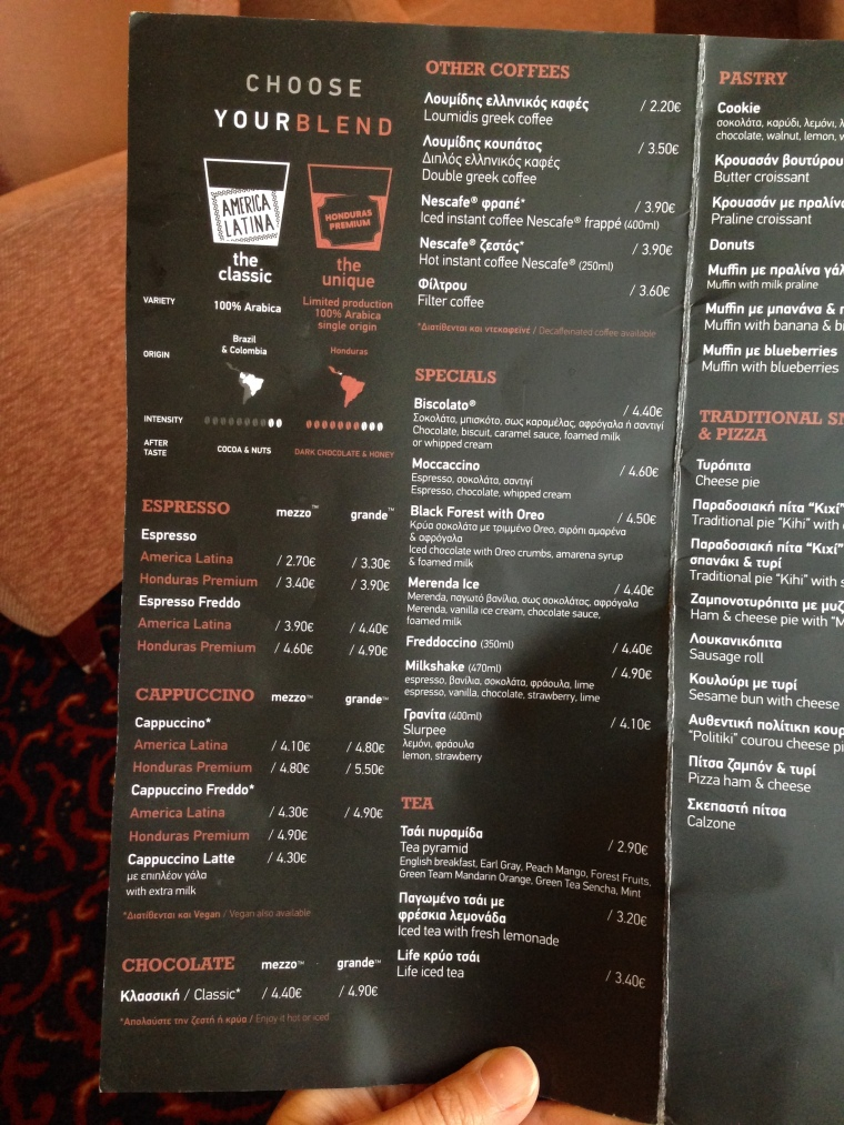 Business class menu: click to enlarge