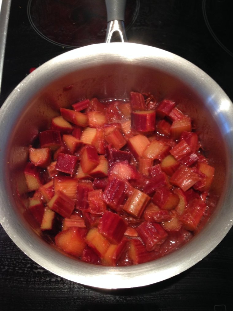 Rhubarb compote: it looks like red celery at first!