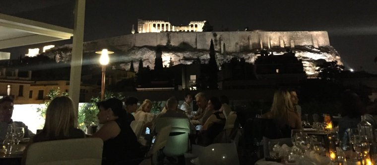 Herodion Hotel, Athens: view of the Acropolis from Point A restaurant