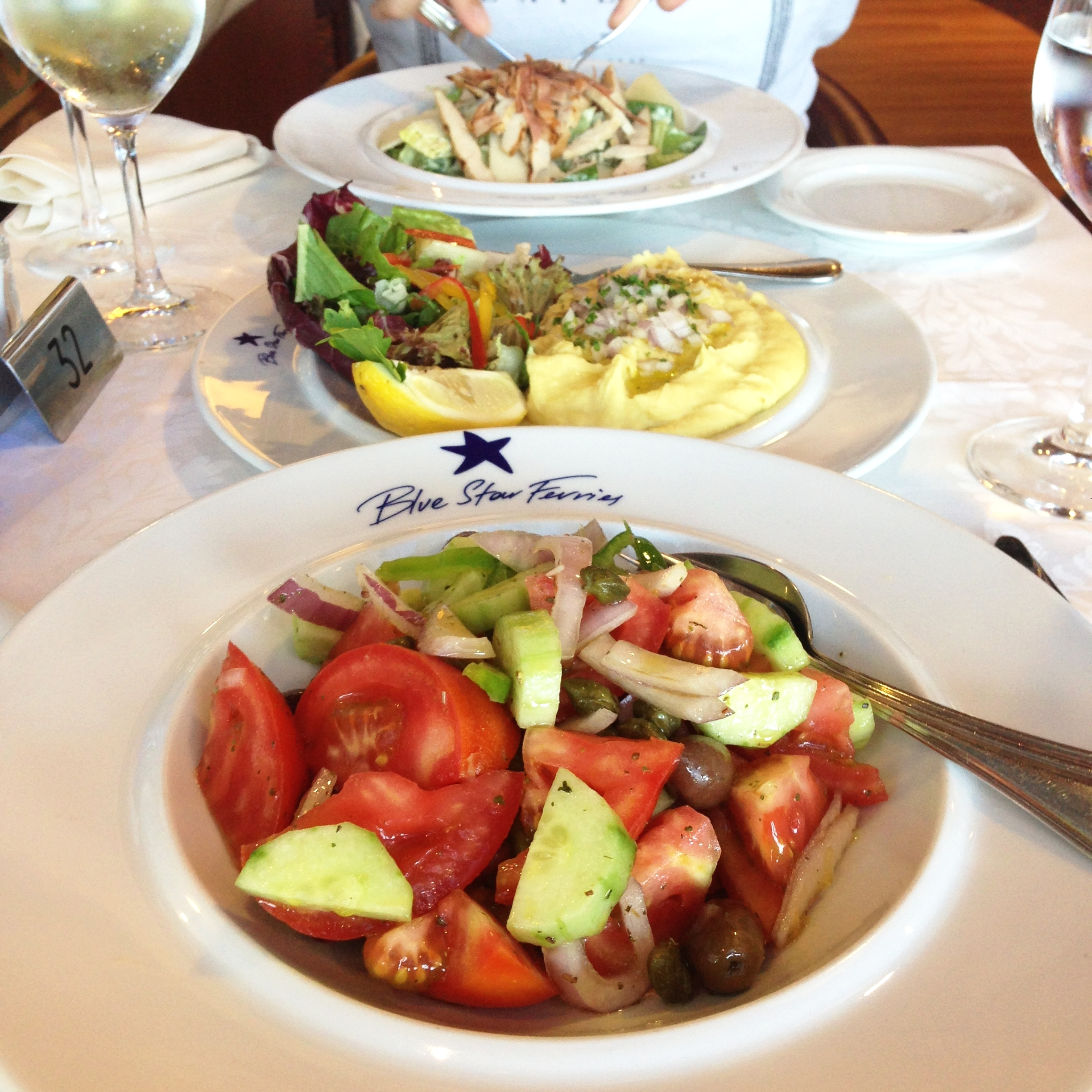 Restaurant: wine, salads and fava for two for €32