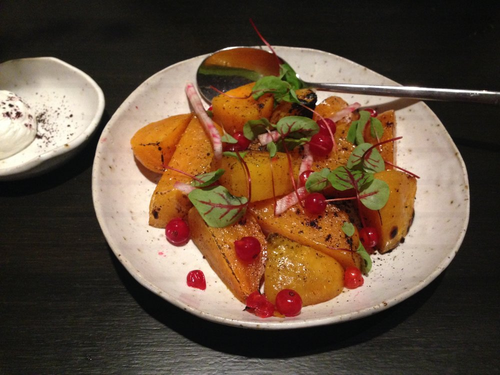 New Normal: golden beetroot and pumpkin with cranberries (goats cheese on the side).