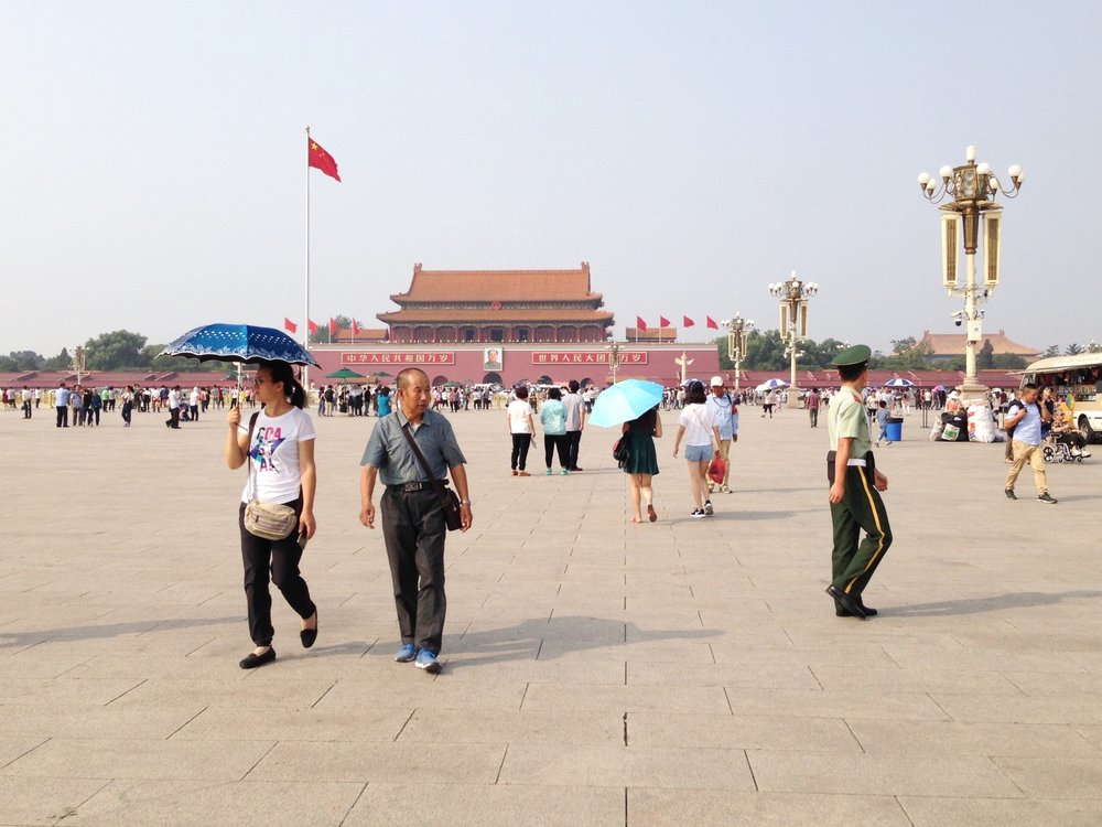 Tiananmen Square: the infamous site of the 1989 student demonstrations, facing the Forbidden City.