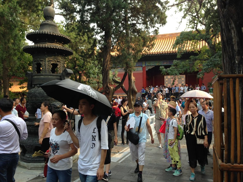 Forbidden City: the gardens offer some shade and respite from the concrete areas, but are still busy.