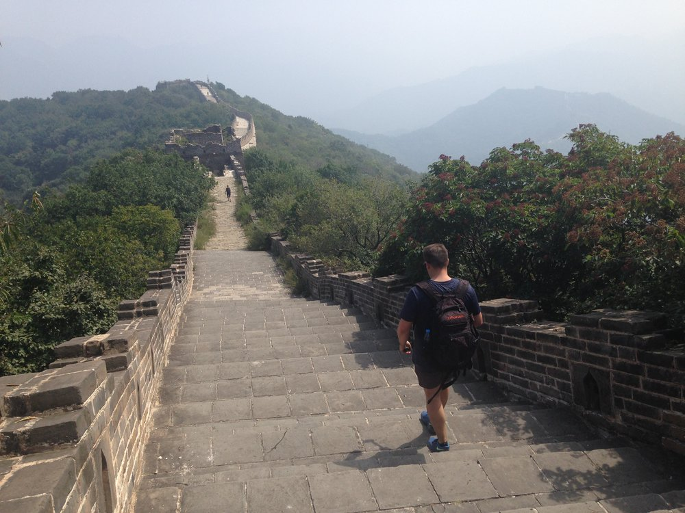 Mutianyu: the restored path is much more even and clear than wild Jiankou.